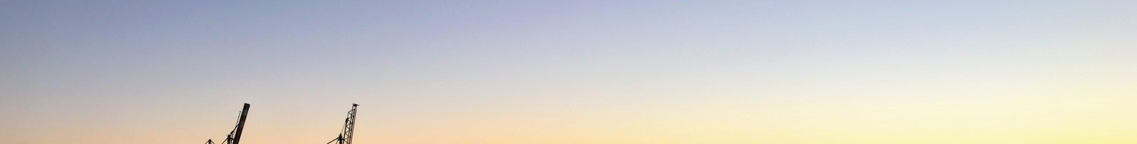 Kraner i solnedgang